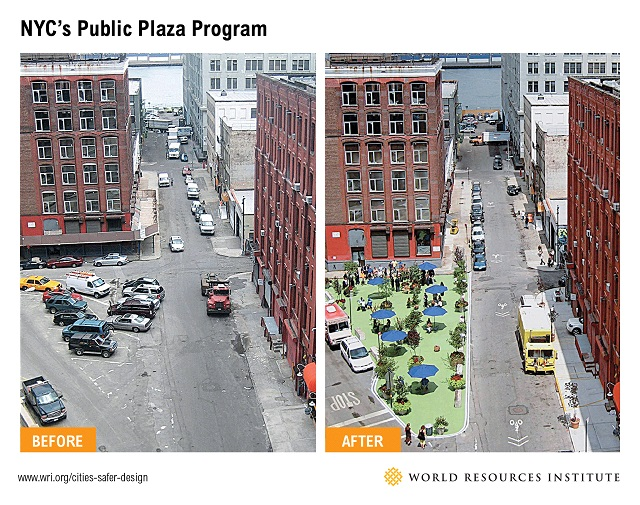 NYC's Public Plaza Program / Font: WRI